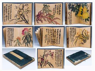 CHINESE PAINTING ALBUM OF FLOWER & POEM BY WU CHANGSHUO