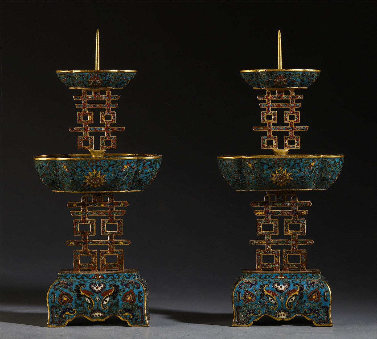 A PAIR OF CHINESE CLOISONNE FLOWER CANDLE HOLDERS