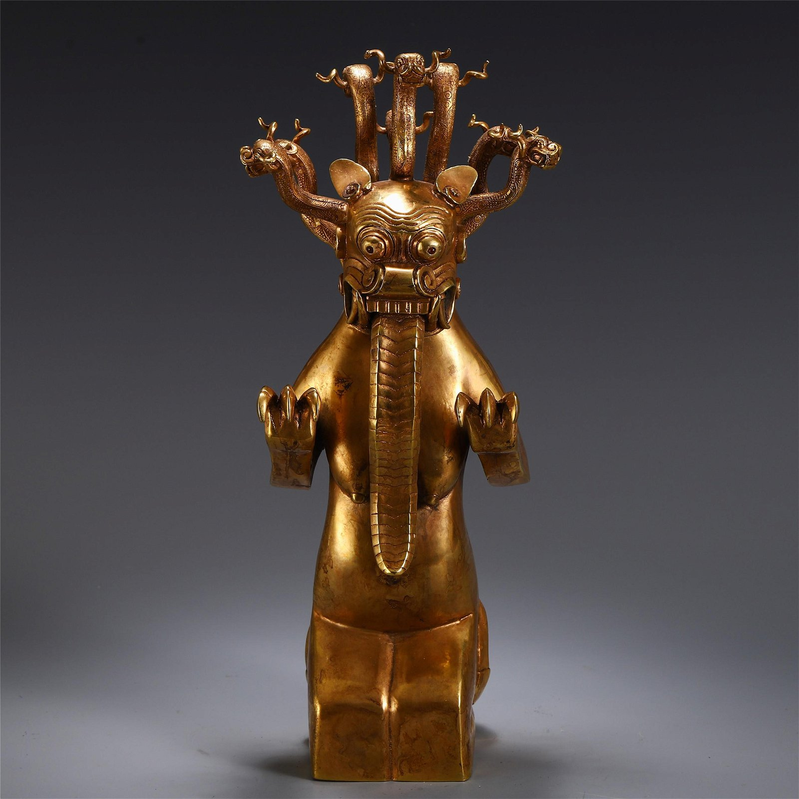 CHINESE GILT BRONZE BEAST TABLE ITEM
