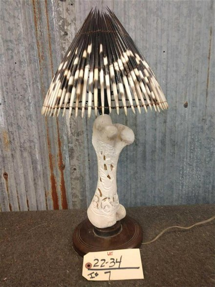 Carved Giraffe Bone Lamp Jun 06 2020 Circle M Auctions In Ia