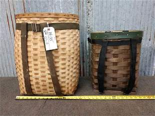 Two wicker trapping baskets