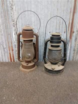 2 vintage kerosene lanterns
