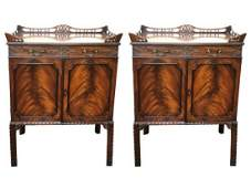 Chinese Chippendale Flame Mahogany Nightstands