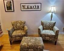 Pair of club chairs and ottoman