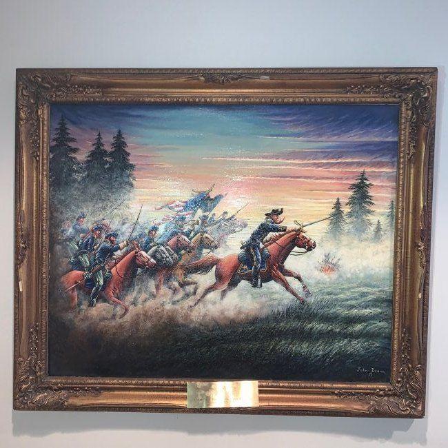 Civil War oil painting General Custer Gettysburg