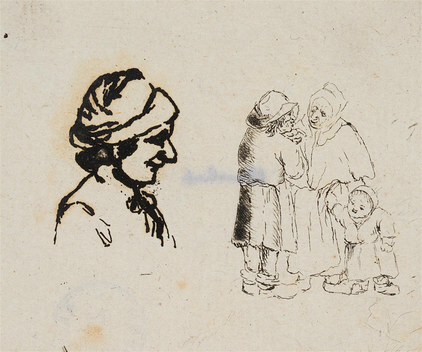 A.OSTADE(*1610), small sketches, Peasant Portraits,