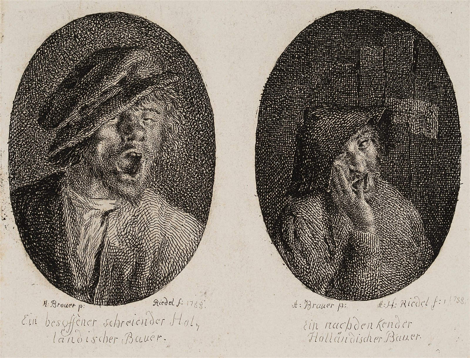 A.RIEDEL(*1763) after Brouwer, A drunken and a thinking