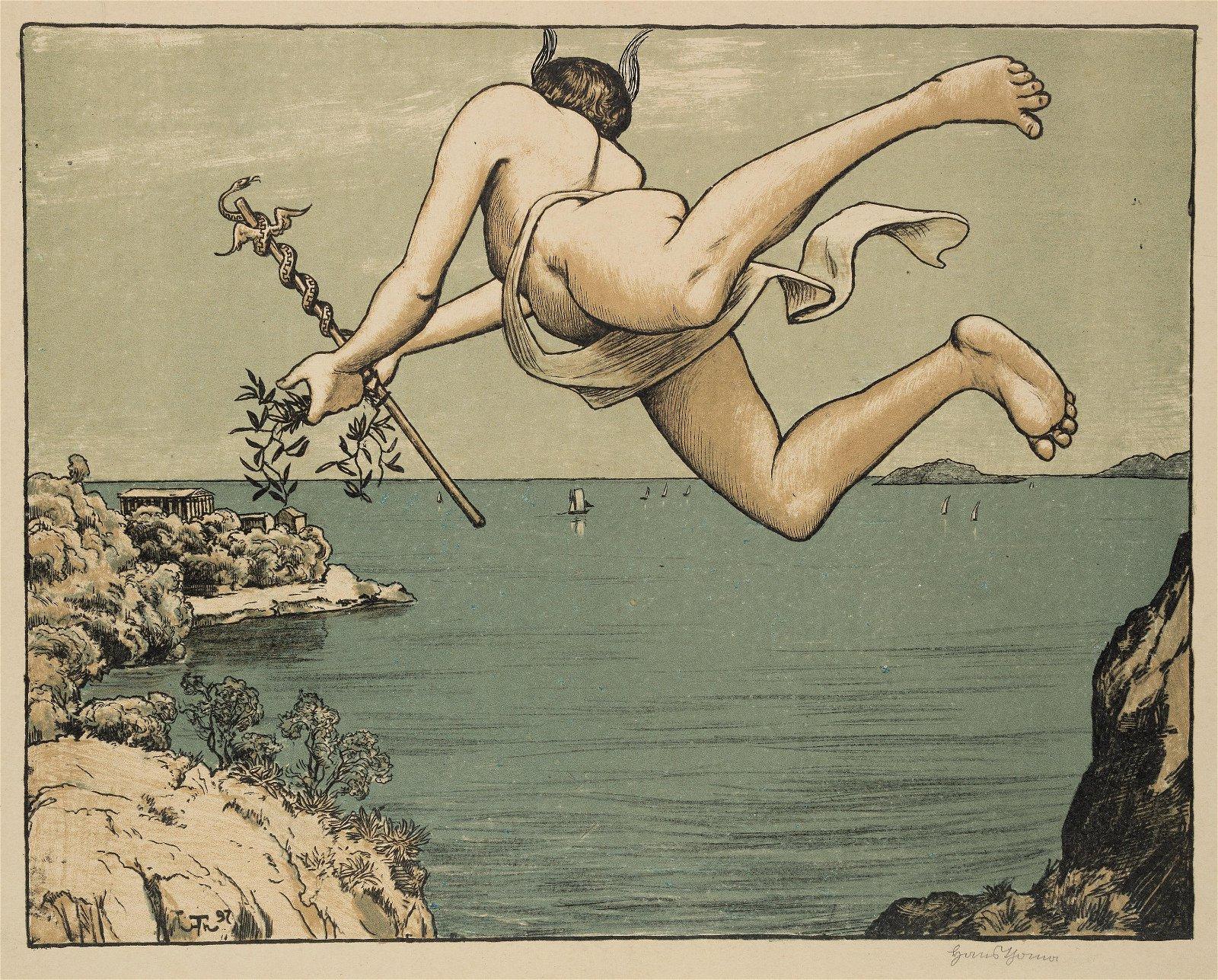 H.THOMA(*1839), Flying Mercury, 1897, Algraphy