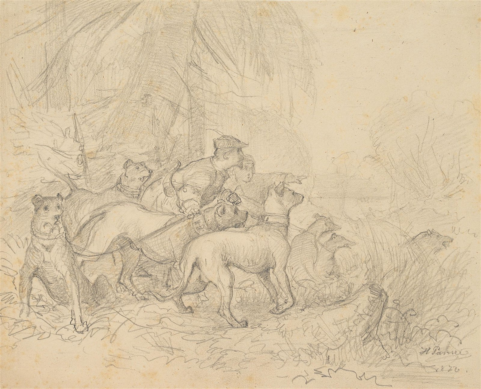 H.PANSEE(*1840), Hunter with a pack of hunting dogs,