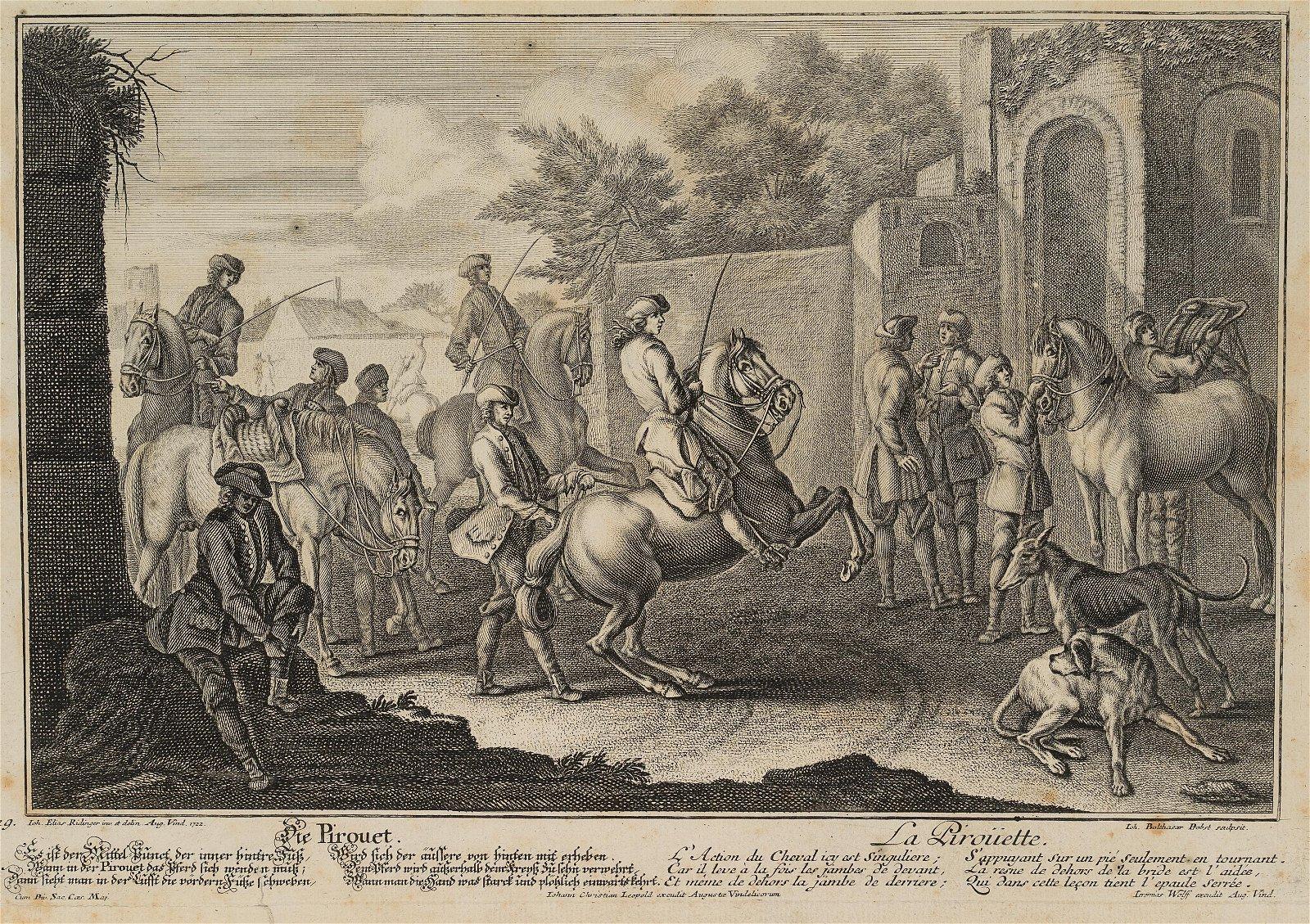 J.PROBST(*1673) after Ridinger, New horsemanship,