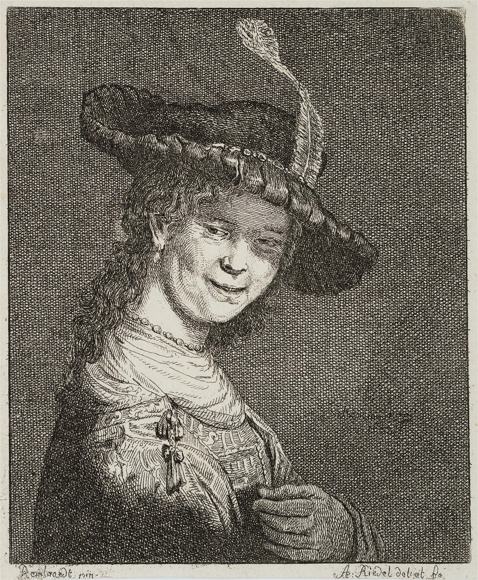 J.RIEDEL(*1736) after Rembrandt, Portrait of the