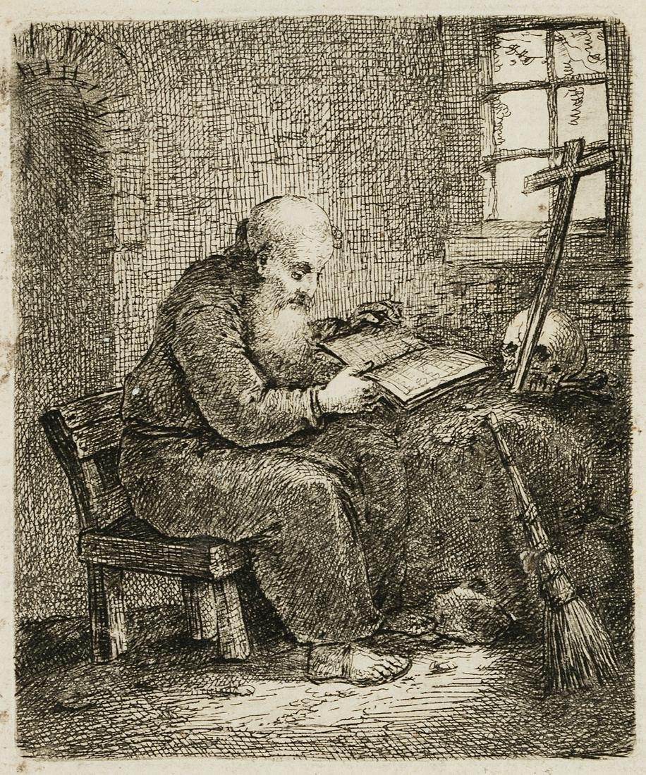 J.TISCHBEIN(*1742), The reading hermit in his cell,