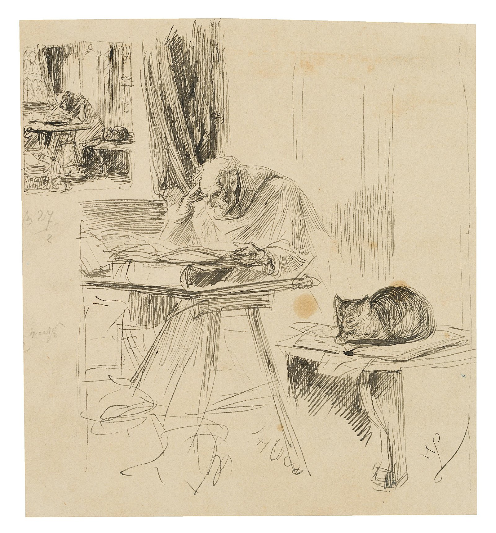W.LINDENSCHMIT(*1829), Reading monk with cat, 19th