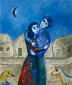 Marc Chagall Gouache on paper in the style of