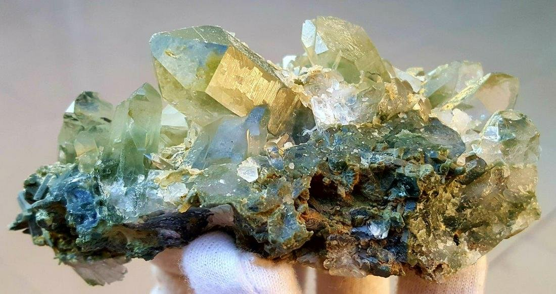 464.1 grams Chlorine Quartz Crystals Cluster