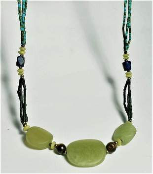 Green Nephrite Jade Necklace - Round Beads