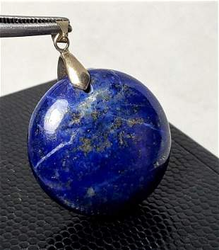 Round Sterling Silver Lapis Lazuli Pendant