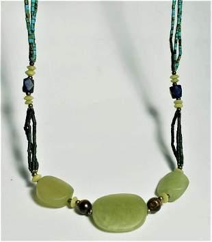Green Nephrite Jade Necklace - Round Beads