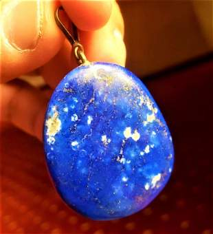 Solid Sterling silver lapis lazuli pendant