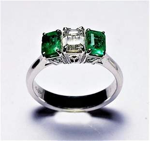 Emerald with Diamond Platinum Ring