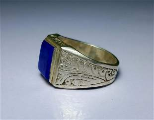 Lapis Lazuli Sterling Silver Ring - Egyptian Style