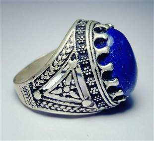 Sterling Silver Lapis Ring - Egyptian Style