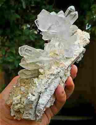 Chlorine Quartz Cluster on Mother Rock - 993 Grams