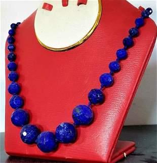 Vintage Style Lapis Lazuli Beaded Necklace