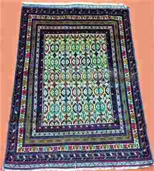 Hand Knotted Wool Tribal Kabuli Afghan Rug