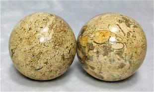 Jasper Coral balls peachy color pairs 152.1G