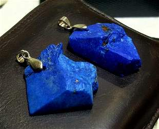 Paired Lapis Lazuli Jewelry, sterling silver lapis