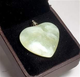 Sterling Silver Jade Heart Pendant
