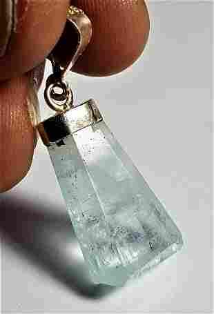 Natural Aqua Blue Aquamarine Gemstone Necklace Pendant