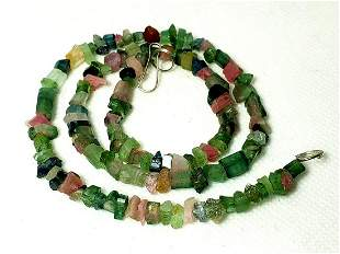 Rubelite Tourmaline Beaded Necklace - 48 Cm