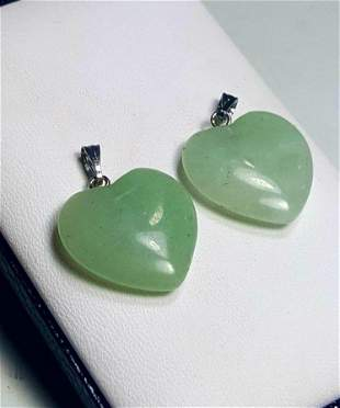 Sterling Silver Jade Heart Paired Pendants