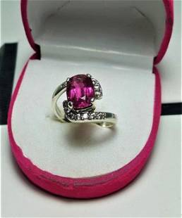 Baby Pink Tourmaline Ring in Silver