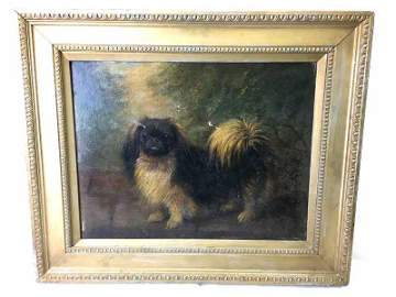 H Crowther oil on canvas of Pekingese Dog