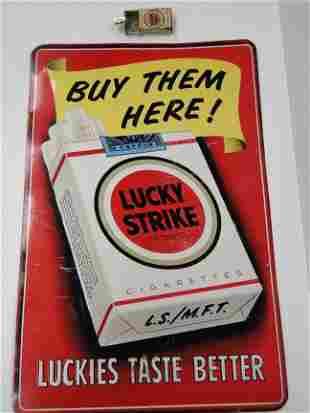 Lucky Strike Sign & ashtray