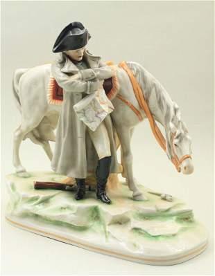 Napoleon next to his horse in porcelain