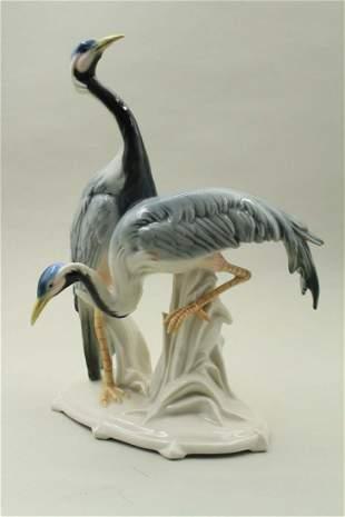 Two storks in porcelain