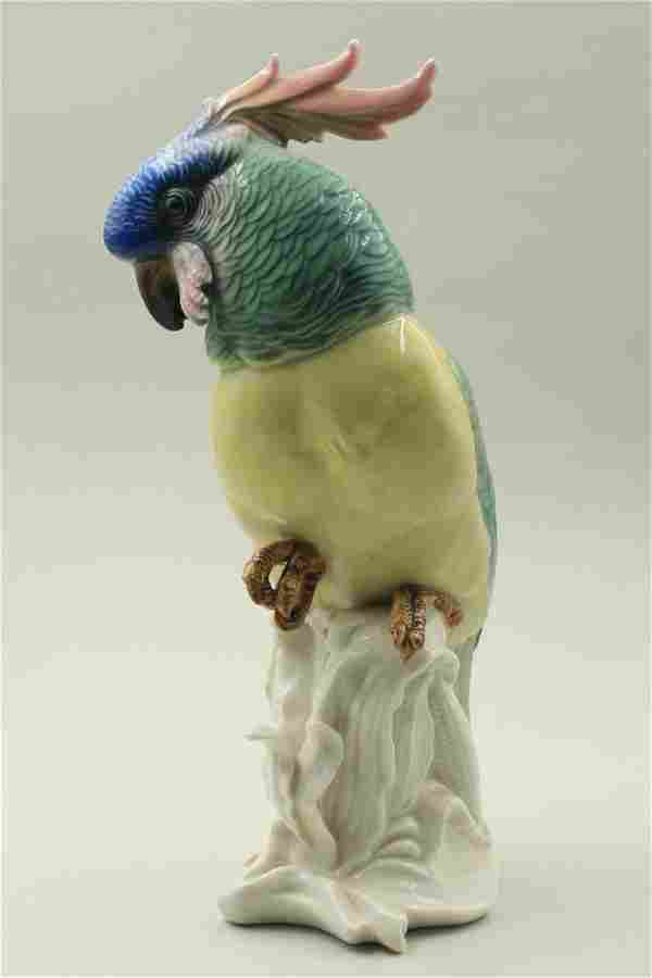 Porcelain large parrot sculpture