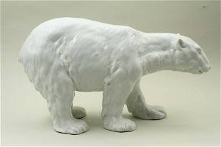 Statue of a large white polar bear