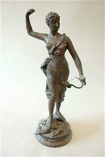 Female hunter - large bronze sculpture