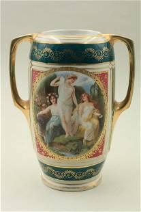 Porcelain urn with handles