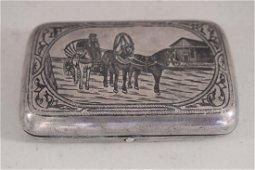 Russian Silver case 84 with niello