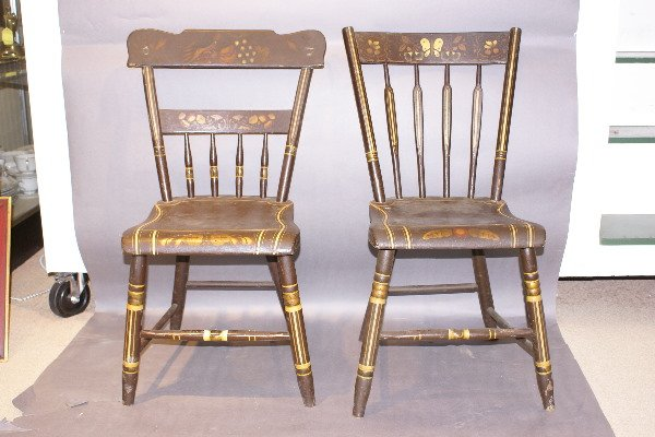 2: Four 19th C Amer. Stenciled side chairs