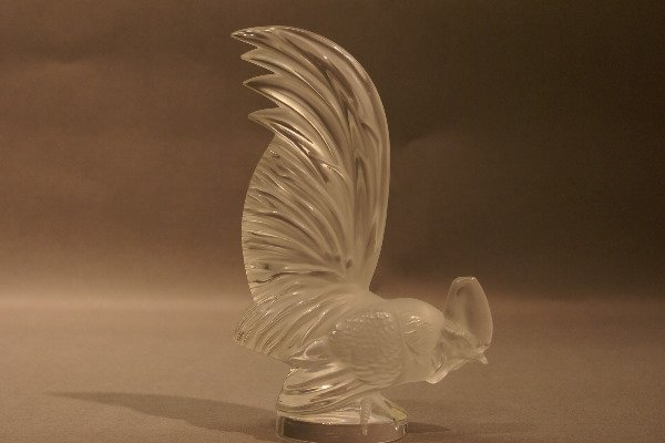 15: Art Glass Rooster, etched Lalique