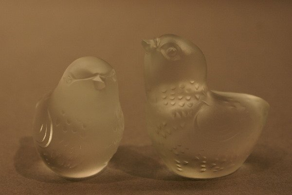 21: Two Baccarat Frosted Crystal Sparrows