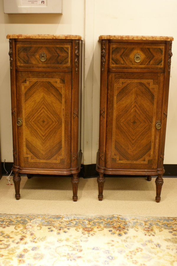 209:   Pr Inlaid Italian Marble Top Stands