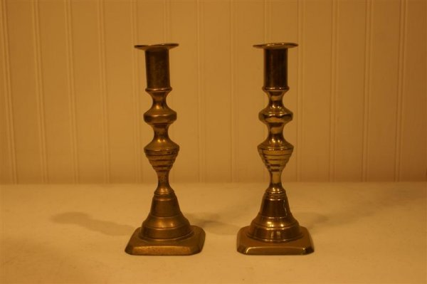 1004: Pair of English Beehive Candlesticks
